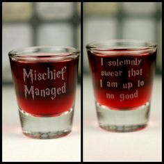 Mischief Managed &  I Solemnly Swear Etched DOUBLE SIDED Shot Glass (1 GLASS), Harry Potter Inspired