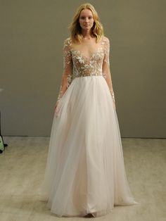 Hayley Paige rosewater long sleeve A-line wedding dress with illusion floral beaded bodice and bateau neckline and low open back, layered English net circular skirt