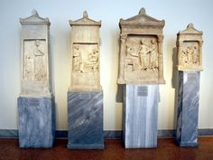 Hellenistic funerary steles.  National Archaeological Museum in Athens.