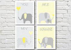 Elephants nursery art, instant download, printable nursery art, elephant nursery decor, grey and yellow
