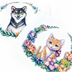 Watercolor Floral Kitten and Shiba Tattoo Sticker Small Girl Tattoos, Small Wrist Tattoos, Trendy Tattoos, Tattoo Girls, Tattoo Plant, Crucifix Tattoo, Lion Flower, Party Mottos, Sketchy Tattoo