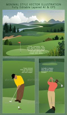 Golf Course; Golfers on the Greens Landscape  #GraphicRiver         Exclusive to Graphic River; a minimal style artistic rendering of a golf course in beautiful evening landscape with radiant sun setting behind blue mountains and green hills. All the trees, bushes, greens layers, clouds and mountains cleanly rendered and in well organized groups so you can change anything you need to. The two golf players are included, one is putting and the other is driving off from the tee. Additional…