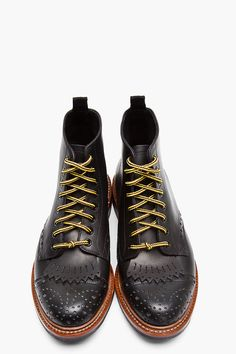 N.D.C. MADE BY HAND Black Leather Burford Semi-Brogue Trapper Boots
