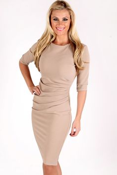 Kerrie Anne Biscuit Fitted Dress | Vavavoom Clothing