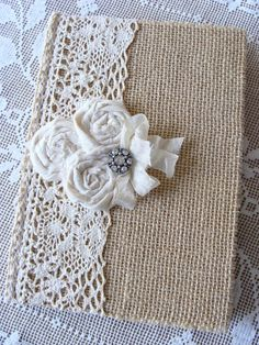 Burlap and Lace Journal Diary Notebook Guestbook Prayer Journal Tattered Shabby Rustic Handmade Fabric Rolled Roses