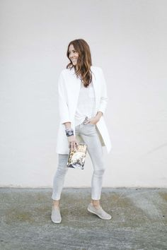 Tonal outfit in greys, whites