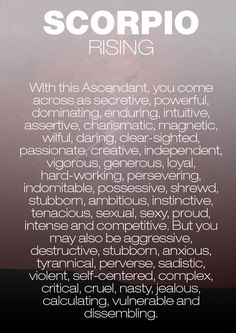 Scorpio Ascendant, Aries, Scorpio Zodiac Facts, Learn Astrology, Scorpio Traits, Zodiac Signs Astrology, Astrology Numerology, Astrology Chart, Zodiac Cancer