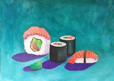 Art Room Britt: Sushi in Gouache. Art Lessons For Kids, Projects For Kids, Art For Kids, Art Projects, Sushi Wrap, Wayne Thiebaud, Gouache, Japanese Art, Art Education