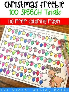 FREE DOWNLOAD! Need 100 trials in speech therapy? This Christmas themed coloring articulationis a perfect activity for the holidays!