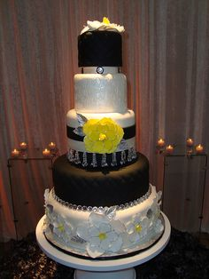 Black and Yellow wedding cake- purple instead. Description from pinterest.com. I searched for this on bing.com/images