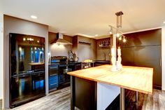 Wood surface counters in modern kitchen