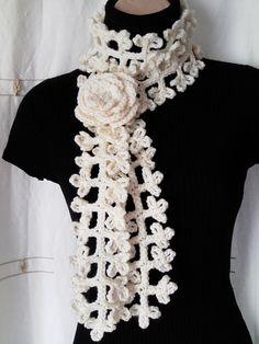 CROCHET SCARF, NECKWARMER with Crochet Flower Brooch £9.00