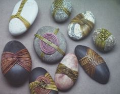 Billedresultat for Cane wrapped rocks, Japanese basketry knots Stone Crafts, Rock Crafts, Arts And Crafts, Image Beautiful, Stone Wrapping, Contemporary Quilts, Nature Crafts, Pebble Art, Stone Art