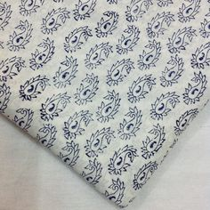 Block Print Fabric Indian - Organic Cotton - Indigo and White Fabric - Soft Cotton - Cambric Cotton - Quilting / Dress Fabric by Yard