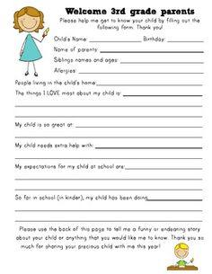 FREE! Back to School- Student Information Sheet (K,1,2,3,4,5)