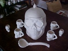 Skull Punch Bowl 9 pc set U Paint Ceramic by moonlitefantasies, $100.00