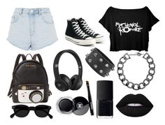 """BLACK"" by diana-gheatau on Polyvore featuring Topshop, Converse, Betsey Johnson, Beats by Dr. Dre, Fallon, NARS Cosmetics and Chanel"