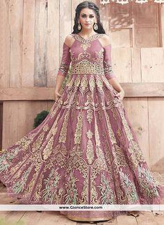 Outstanding Pink Embroidered Work Net Floor Length Anarkali Suit
