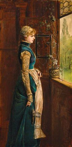 Schachinger, Gabriel (b,1850)- Through Window Fondly Looking, 1882