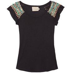 FETHIE T-shirt bordados ombros - preta