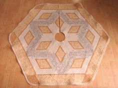 Christmas Tree Skirt Quilt Snowflake Elegance 195 by QuiltinWaYnE, $165.00