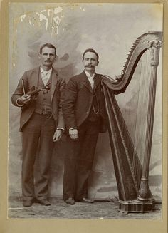 vintage: victorian men with harp and violin | Flickr - Photo Sharing!