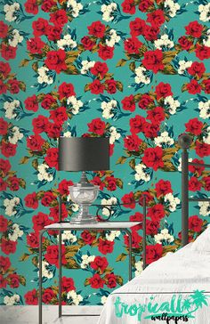 Rose Flowers Pattern Wallpaper Removable Wallpaper by TropicWall How To Hang Wallpaper, Red Wallpaper, Wallpaper Panels, Peel And Stick Wallpaper, Pattern Wallpaper, Bathroom Wallpaper, Wallpaper Ideas, Red Rose Flower, Red Roses