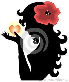 Illustration that represents a stylized face of woman with flower in her hair and an heart in her hand. A nice idea that can be used for love projects or in other different ways, dipends on your fantasy!