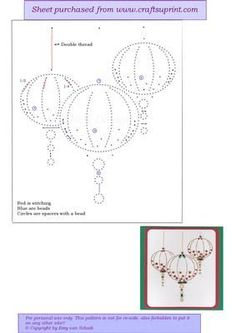 ED132 Christmas baubles on Craftsuprint designed by Emy van Schaik - Stitching with beads - Now available for download!: