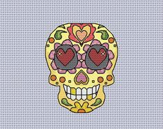 Cross stitch chart sugar skull card, pattern for stitching your own card, day of the dead, instant download available