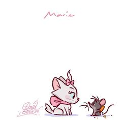 Marie [feat. Roquefort] (Drawing by PrinceKido @deviantART) #TheAristocats