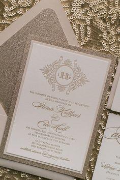 Beige and Gold Fancy Glitter Letterpress Monogram Wedding Invitations by Just Invite Me
