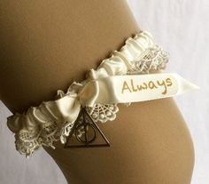 "Harry potter, wedding garter, ""always"" // brass deathly hallows charm // ivory ribbon and lace // literary theme Geek Wedding, Wedding Goals, Our Wedding, Wedding Planning, Dream Wedding, Wedding Stuff, Cute Wedding Ideas, Wedding Themes, Anniversaire Harry Potter"