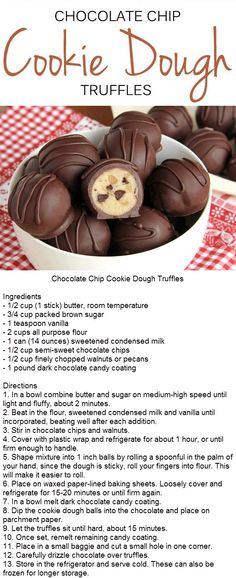 #chocolate #chocolatechip #cookie #cookies #cookiedough #truffles Cookie Dough Cake Pops, Cookie Dough Truffles, Edible Cookie Dough, Cookie Dough Recipes, Candy Recipes, Baking Recipes, Sweet Recipes, Chocolate Truffles, Dark Chocolate Candy
