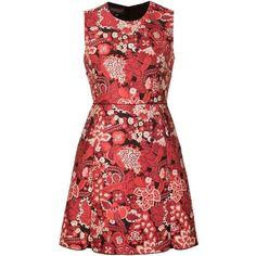 Giambattista Valli brocade short dress ($2,395) ❤ liked on Polyvore featuring dresses, red, mini dress, red mini dress, red cocktail dress, short red dress y brocade cocktail dress