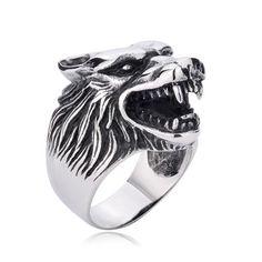 Niello Stlye Vintage Punk Men's Wolf Titanium Finger Ring - http://www.zivpin.com
