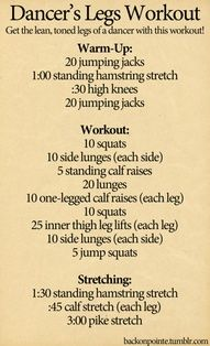 Now do all this for about 1.75 hours and it will be a true dancer workout! More
