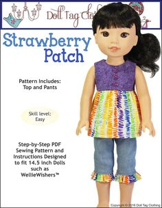 Strawberry Patch for WellieWishers Dolls. Pattern  by Doll Tag Clothing.