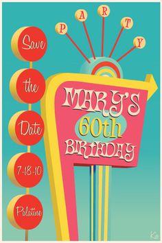 retro postcard design samples - retro save the date  festivals/ events