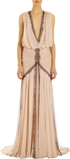 J. Mendel Chantilly Lace Trimmed Gown  I wish I had somewhere to wear this! I think it's so classy.