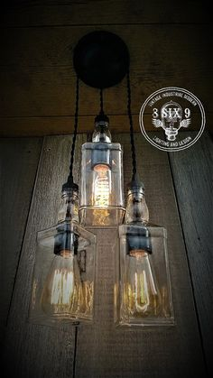 Industrial Upcycled Whiskey Triple Pendant Lighting by 8SIX9Design