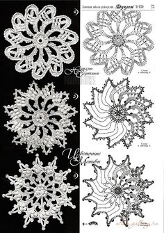Find and save knitting and crochet schemas, simple recipes, and other ideas collected with love. Irish Crochet Patterns, Crochet Snowflake Pattern, Crochet Motifs, Crochet Snowflakes, Freeform Crochet, Crochet Diagram, Crochet Chart, Crochet Squares, Thread Crochet
