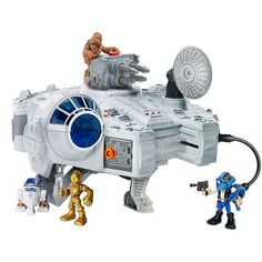 """Imagine the incredible Star Wars adventures you'll have with the Playskool Heroes Star Wars Jedi Force Millennium Falcon Playset! Plug the included tools into the ship and put the gear on the included figures. The """"blasting cannon"""" and sensor dish can be moved! Figures can escape the ship through the trap door or hide in the secret compartment. Millennium Falcon playset comes with Han Solo and Chewbacca figures, storybook and accessories.<br><br><b>Hasbro</b> was first started in 1923 and…"""