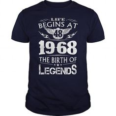 Life Begins At 48 - 1968 The Birth Of Legends #1968 #tshirts #birthday #gift #ideas #Popular #Everything #Videos #Shop #Animals #pets #Architecture #Art #Cars #motorcycles #Celebrities #DIY #crafts #Design #Education #Entertainment #Food #drink #Gardening #Geek #Hair #beauty #Health #fitness #History #Holidays #events #Home decor #Humor #Illustrations #posters #Kids #parenting #Men #Outdoors #Photography #Products #Quotes #Science #nature #Sports #Tattoos #Technology #Travel #Weddings #Women