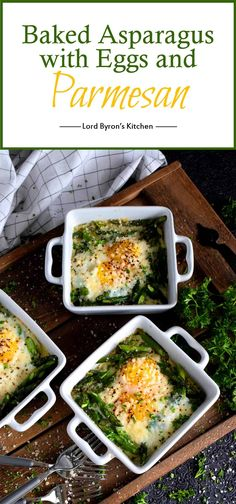 Baked Asparagus with Eggs and Parmesan - Simple, hearty, and delicious; individual portions make these Baked Asparagus with Eggs and Parmesan easy to serve and a little elegant too! Baked Asparagus, How To Cook Asparagus, Asparagus Dishes, Veggie Dishes, Savoury Dishes, Brunch Recipes, Breakfast Recipes, Breakfast Ideas, Gourmet