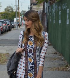 printed dress with sleeved for Fall