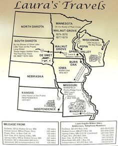 To use when reading the Little House on the Prairie Books: Laura Ingalls Wilder map Laura Ingalls Wilder Biography, Wisconsin, Kansas, Into The West, Le Far West, South Dakota, Missouri, New Mexico, At Least