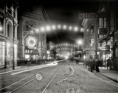 "Charleston, South Carolina, circa 1910. ""King Street lights at night."""