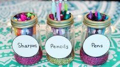 DIY Back to School Supplies 2017-2018!   DIY Pencil Cup Mason Jars!