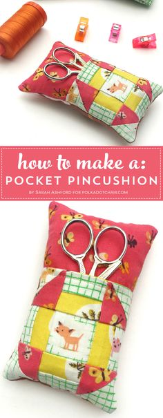 Learn how to make a cute pincushion with a pocket to hold your scissors! A free pincushion sewing tutorial- love the churn dash quilt block addition! #pincushions #DIYpincusions #pincushionstosew #pincushionpatterns #Cutepincushions #sewingtutorial #sewing via @polkadotchair